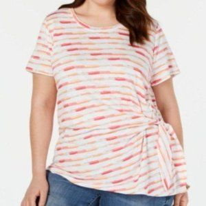 NWT Style&Co 3X T-Shirt Striped Gathered Side Knot